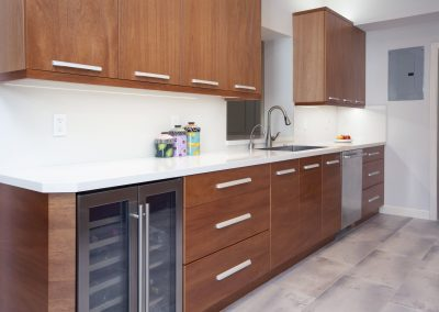 wood custom cabinets in remodeled kitchen